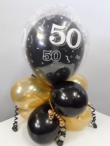 50th birthday double bubble balloon arrangement