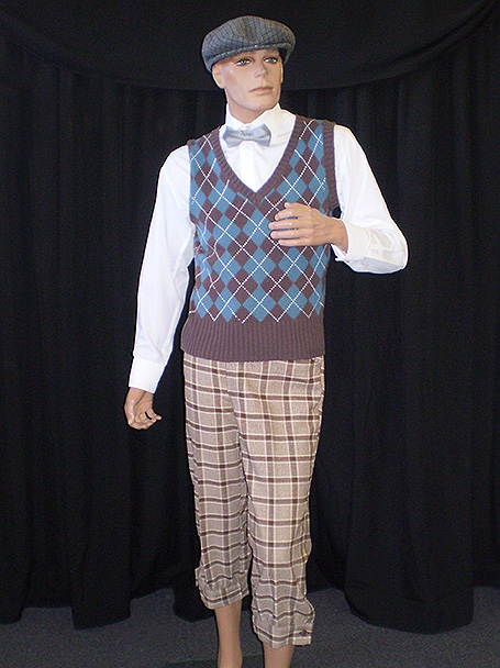 1920's-1940's golf costume including knitted vest, plus 4s & tweed cap.