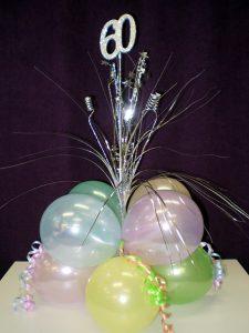 Pastel colour balloon table arrangement