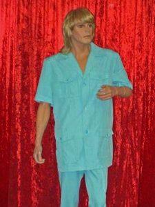 blue safari suit, 70s style