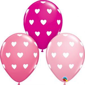 Heart print latex balloons.